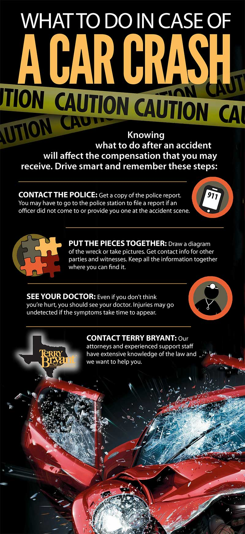 What To Do In case of a Car Crash infographic